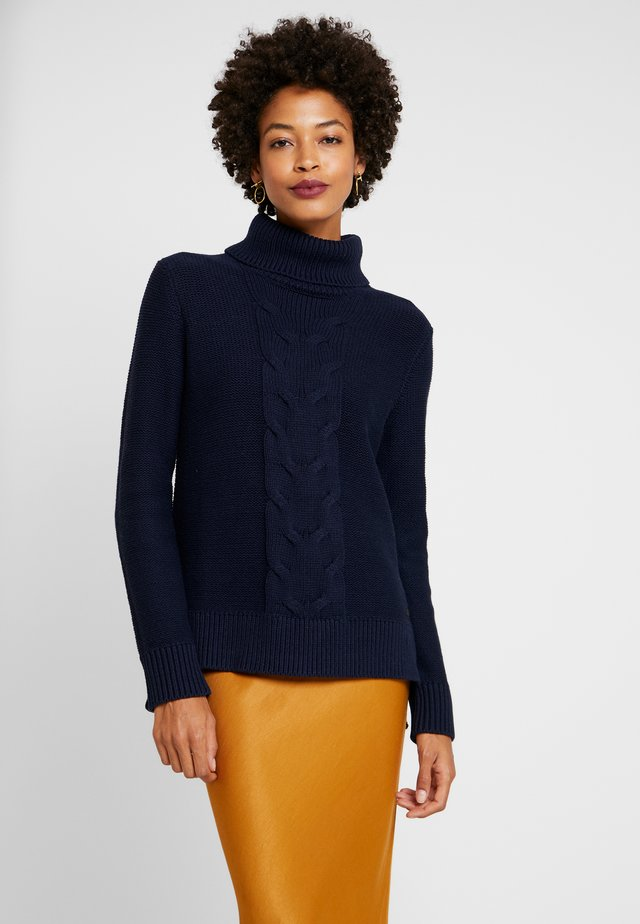 CABLE ROLL NECK - Trui - navy