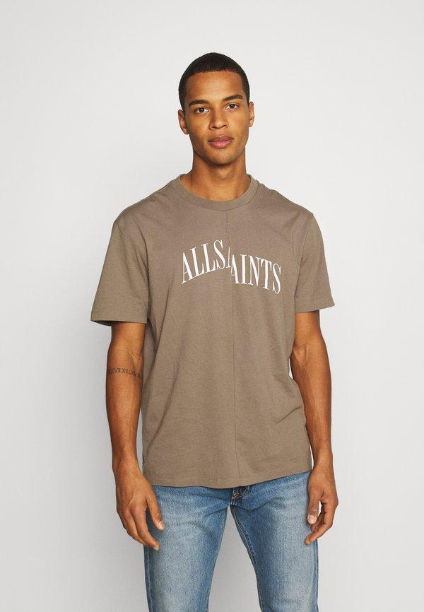 AllSaints DROPOUT CREW - T-shirt z nadrukiem - washed khaki brown/khaki Odzież Męska FEMZ