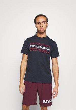 BOWL - T-shirt print - navy/red