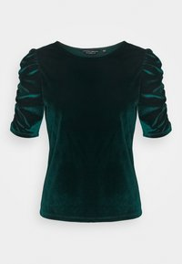 Dorothy Perkins - GREEN RUCHE SLEEVE VELVET TOP - Print T-shirt - green - 0