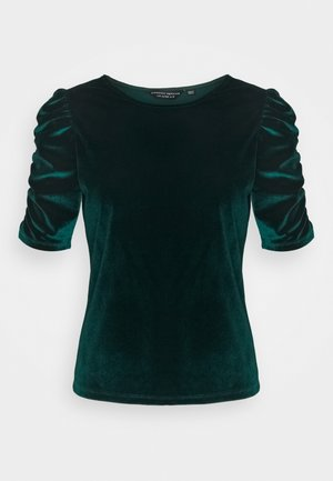 GREEN RUCHE SLEEVE VELVET TOP - Print T-shirt - green
