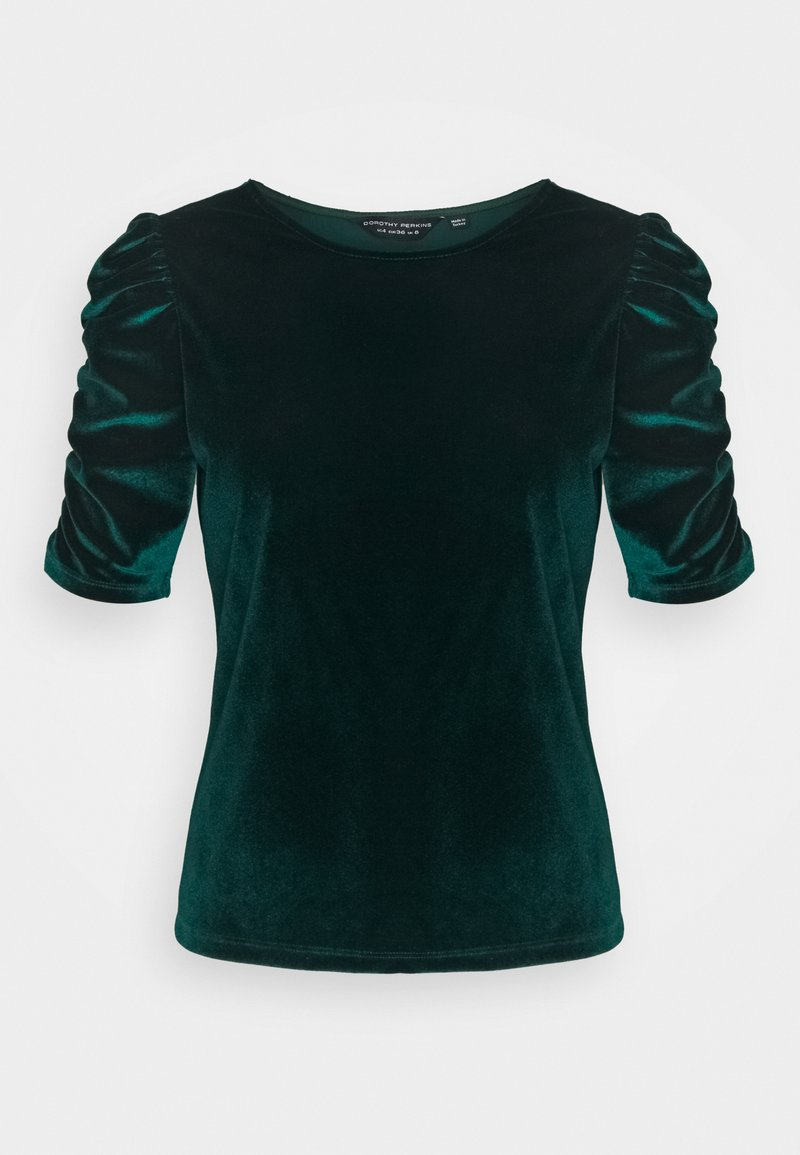 Dorothy Perkins - GREEN RUCHE SLEEVE VELVET TOP - Print T-shirt - green