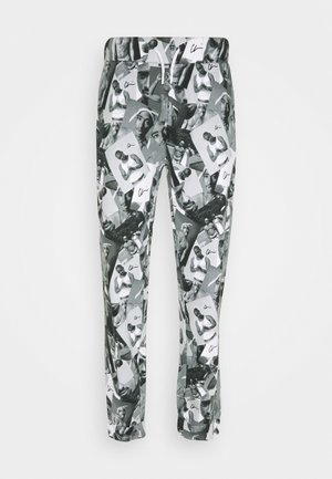PAC PATTERN - Tracksuit bottoms - black grey / print photo pattern