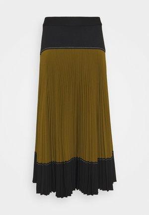 COLORBLOCKED PLEATED SKIRT - Pleated skirt - black/military