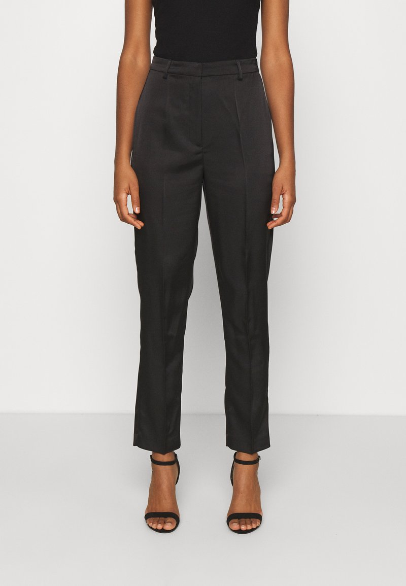 NA-KD - STRAIGHT SUIT PANTS - Trousers - black