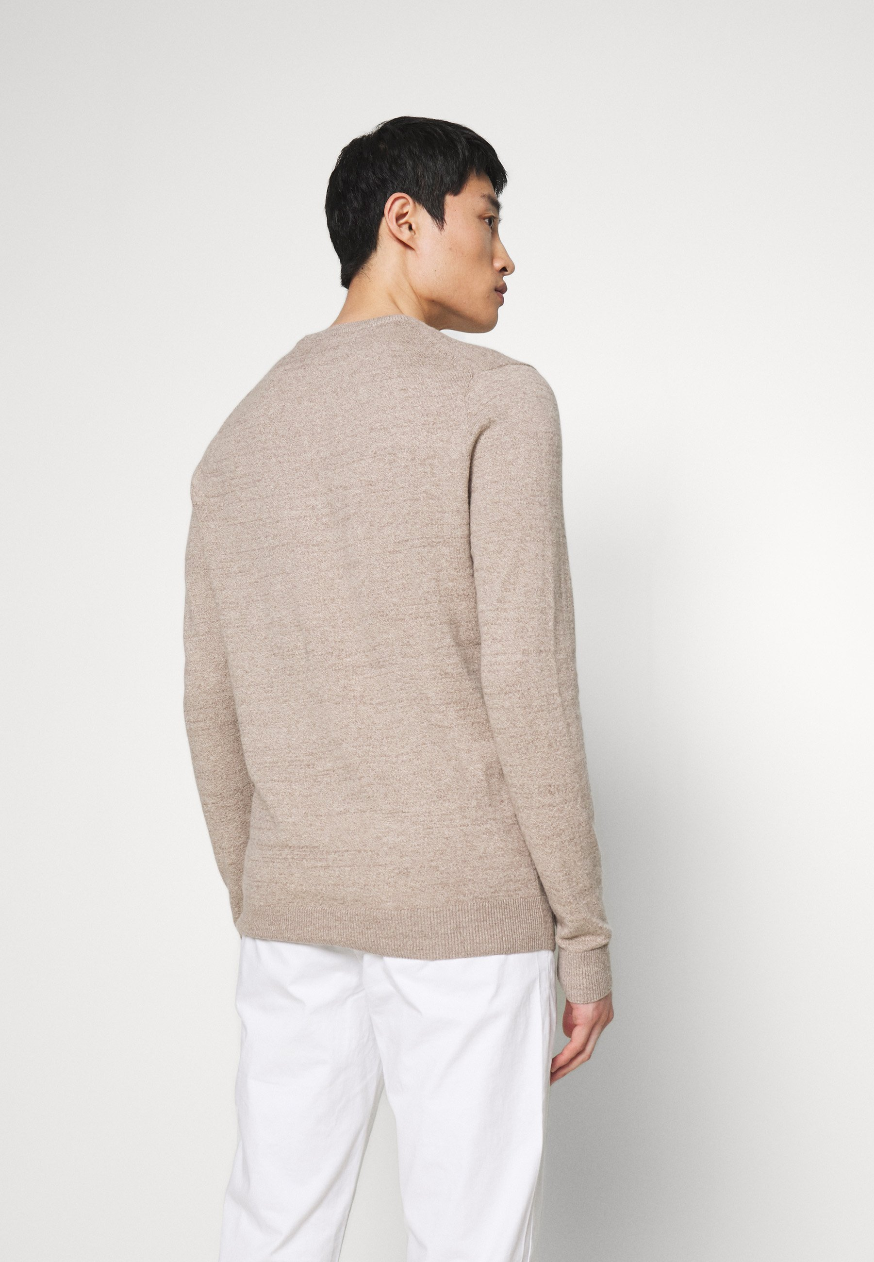 Abercrombie & Fitch CORE ICON CREW - Pullover - textured oatmeal