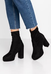 Even&Odd Wide Fit - WIDE FIT - High heeled ankle boots - black - 0