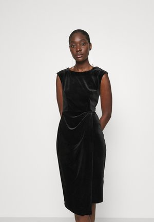 WRAP OVER DRESS - Shift dress - black