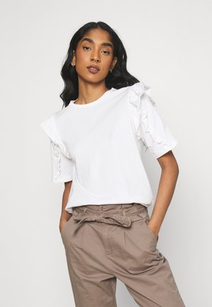 VIMAYRIN FRILL - T-shirt imprimé - cloud dancer