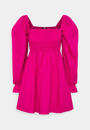 MILKMAID SHIRRED BODICE SKATER DRESS - Day dress - hot pink