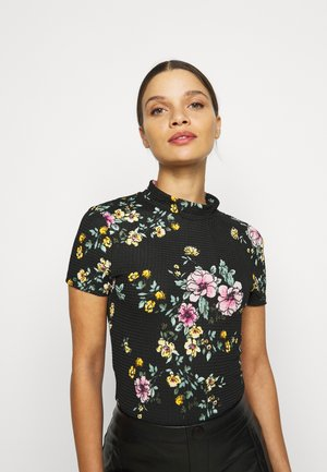ONLZILLE SMOCK NECK  - Triko s potiskem - black/big flower