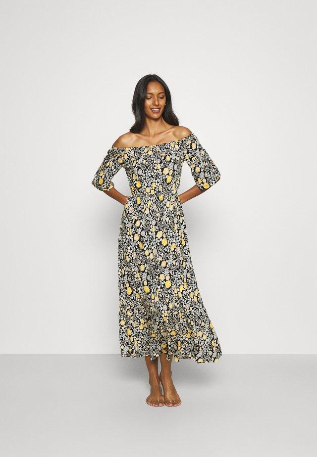 Jerseykleid - schwarz/gelb