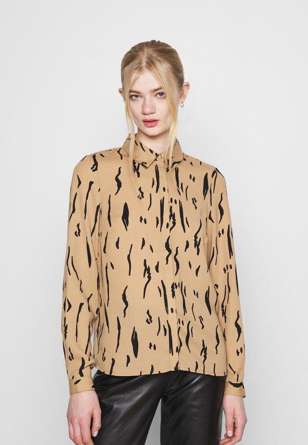 Vero Moda VMELITA - Koszula - tigers eye/graphic black/beżowy DAXG