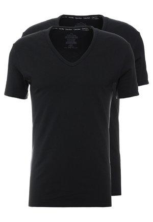 V NECK T SLIM FIT 2PACK - Camiseta interior - black