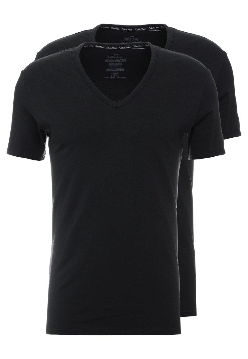 Calvin Klein Underwear - V NECK T SLIM FIT 2PACK - Aluspaita - black