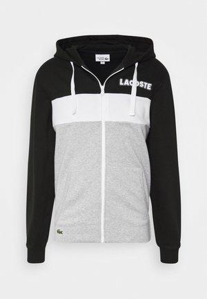 Zip-up hoodie - noir/argent/blanc