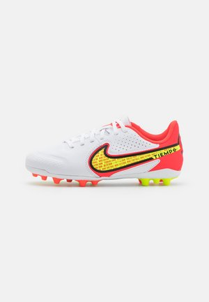 JR. TIEMPO LEGEND 9 ACADEMY AG UNISEX - Chaussures de foot à crampons - white/volt/bright crimson