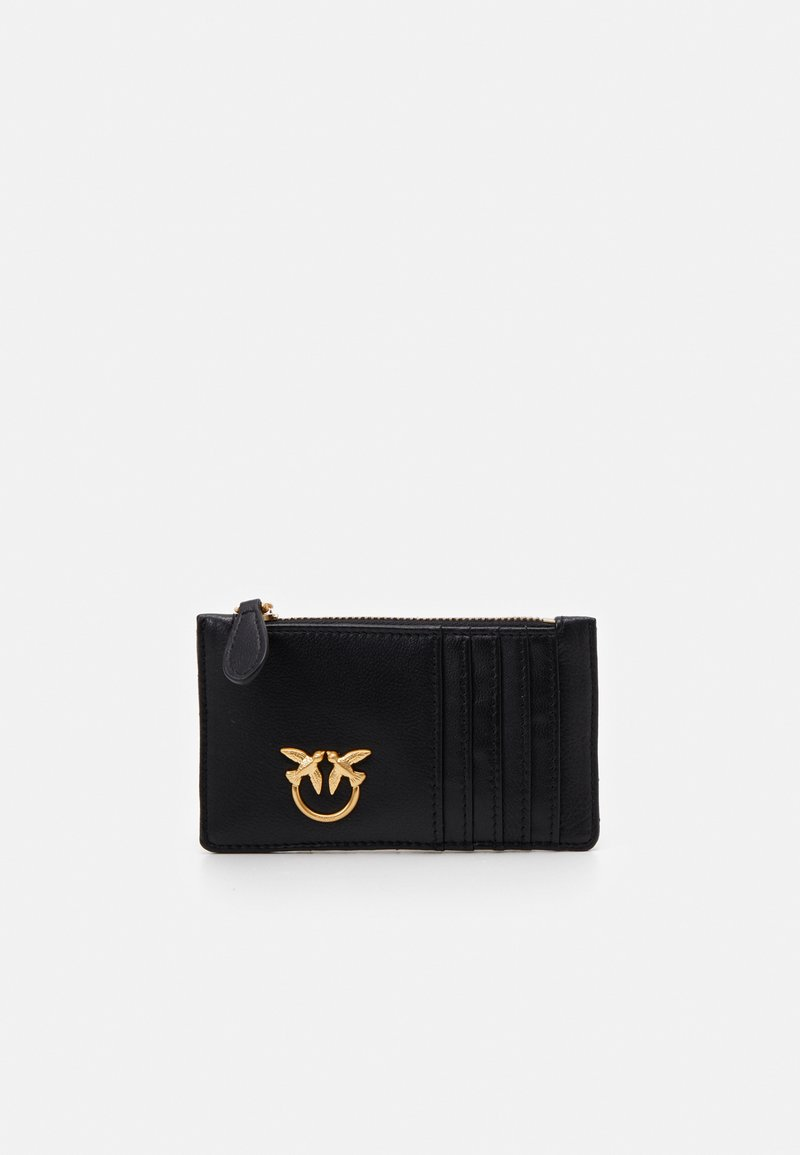 Pinko - AIRONE CREDIT CARD HOLDER TRAPUNTATA CHEVRONNE - Portfel - black