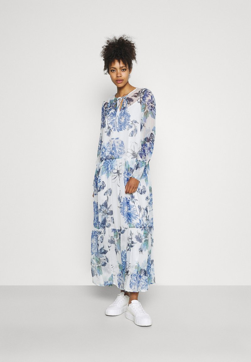 Vila - VIVIOLA O-NECK ANKLE  DRESS - Vestido de cóctel - cloud dancer/blue