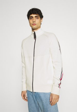LOGO STRUCTURED ZIP THROUGH - Cardigan - ivory