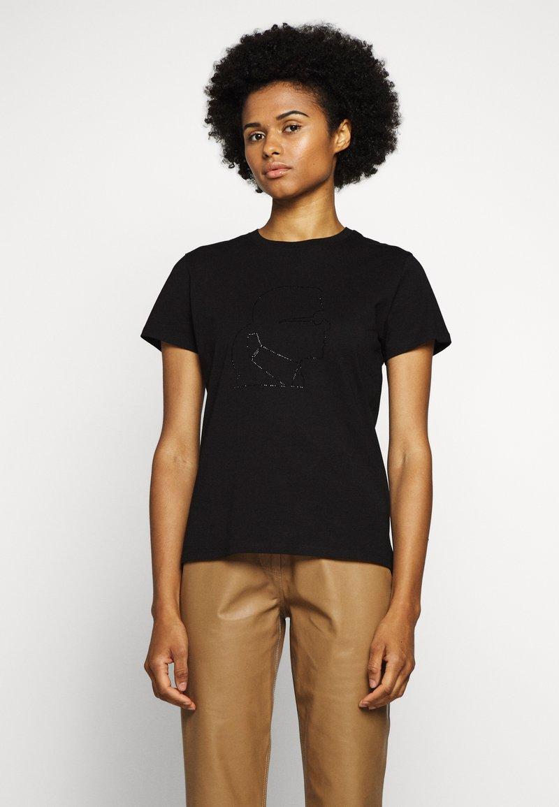KARL LAGERFELD - PROFILE RHINESTONE TEE - T-shirt z nadrukiem - black