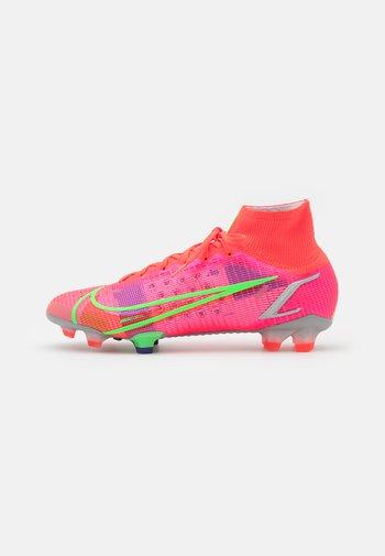 MERCURIAL 8 ELITE FG - Moulded stud football boots - bright crimson/metallic silver