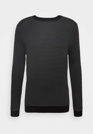 ROUND COLLAR IN BICOLOUR - Jumper - gun grey