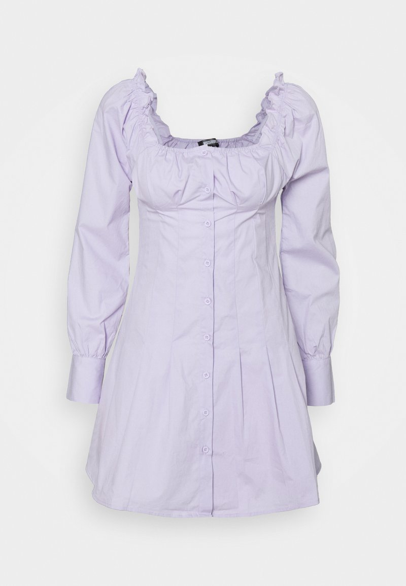 Missguided - CINCHED WAIST BUTTON THROUGH DRESS - Kjole - lilac