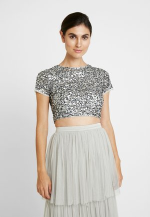 DELICATE SEQUIN CAP SLEEVE CROP - Blůza - grey