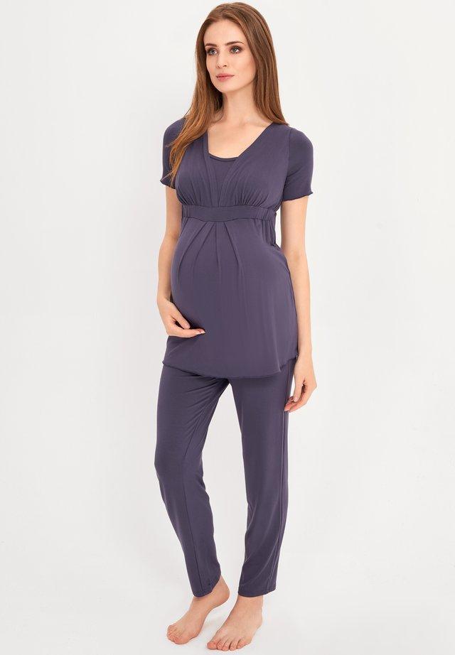 BAMBOO MATERNITY & NURSING PYJAMA 2 IN 1 BASIC - Pyjama - blue