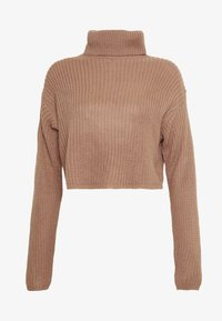 Missguided - ROLL NECK CROP JUMPER - Jumper - dusty camel