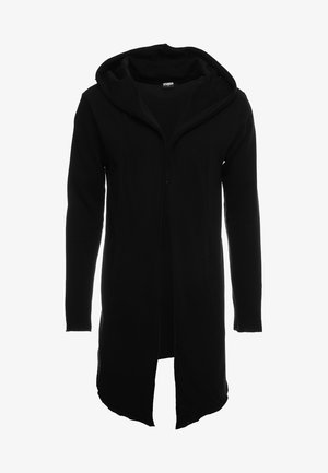LONG HOODED OPEN EDGE - Felpa aperta - black