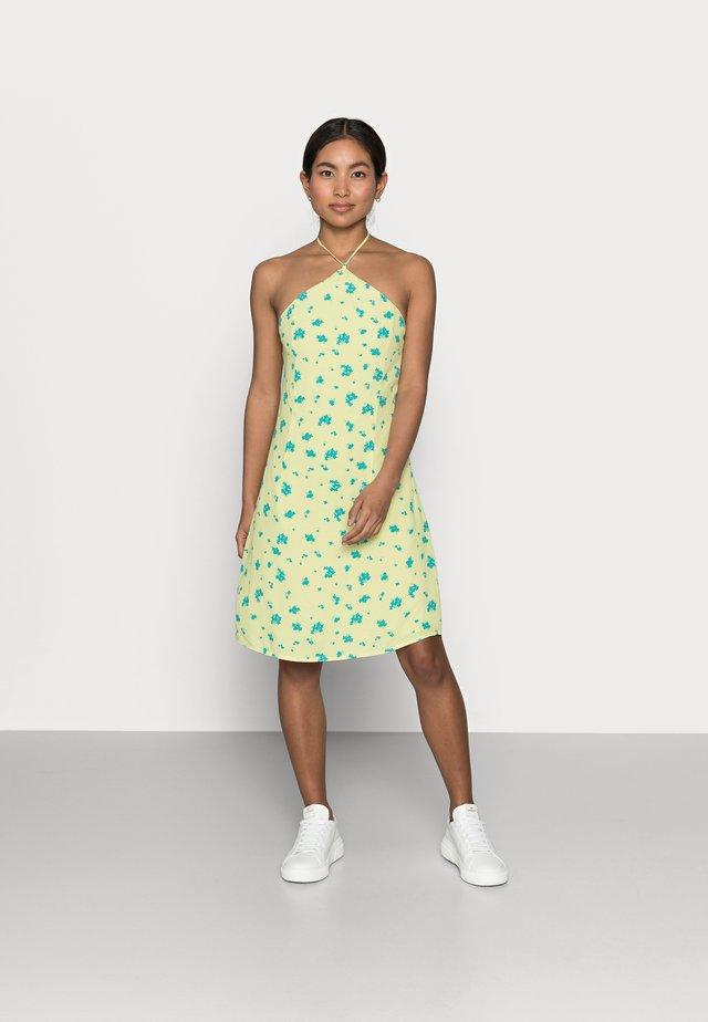 HALTERNECK PRINT MINI DRESS - Day dress - yellow