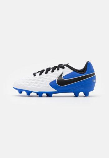 TIEMPO JR LEGEND 8 CLUB FG/MG UNISEX - Moulded stud football boots - white/black/hyper royal/metallic silver