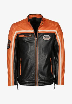 GUNNER - Leather jacket - schwarz orange
