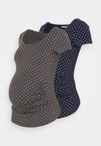 Anna Field MAMA - 2 PACK - T-shirts med print - dark grey/dark blue - 0