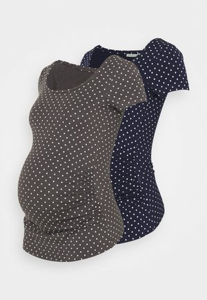 2 PACK - Camiseta estampada - dark grey/dark blue