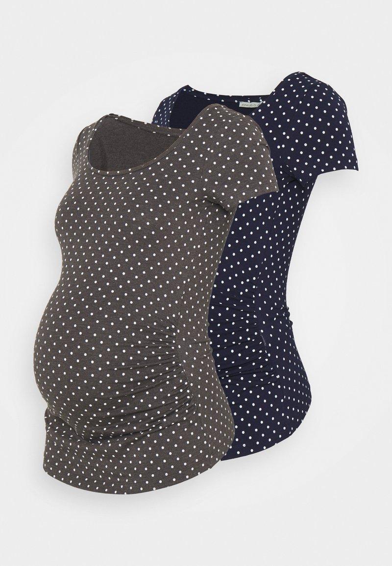 Anna Field MAMA - 2 PACK - T-shirts med print - dark grey/dark blue