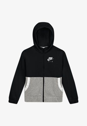HOODIE - Zip-up hoodie - black/carbon heather/white/white