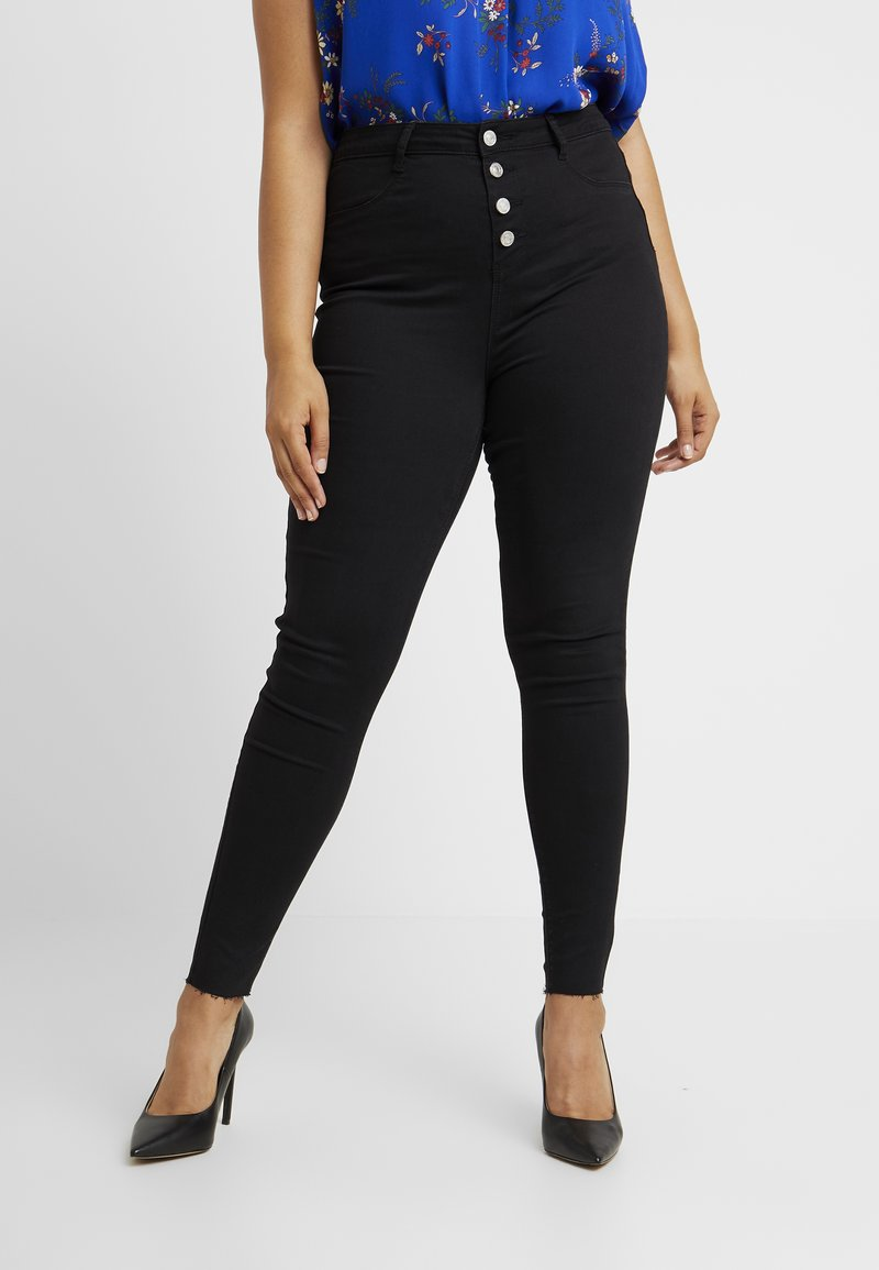 Missguided Plus - BUTTON FRONT LAWLESS - Skinny-Farkut - black