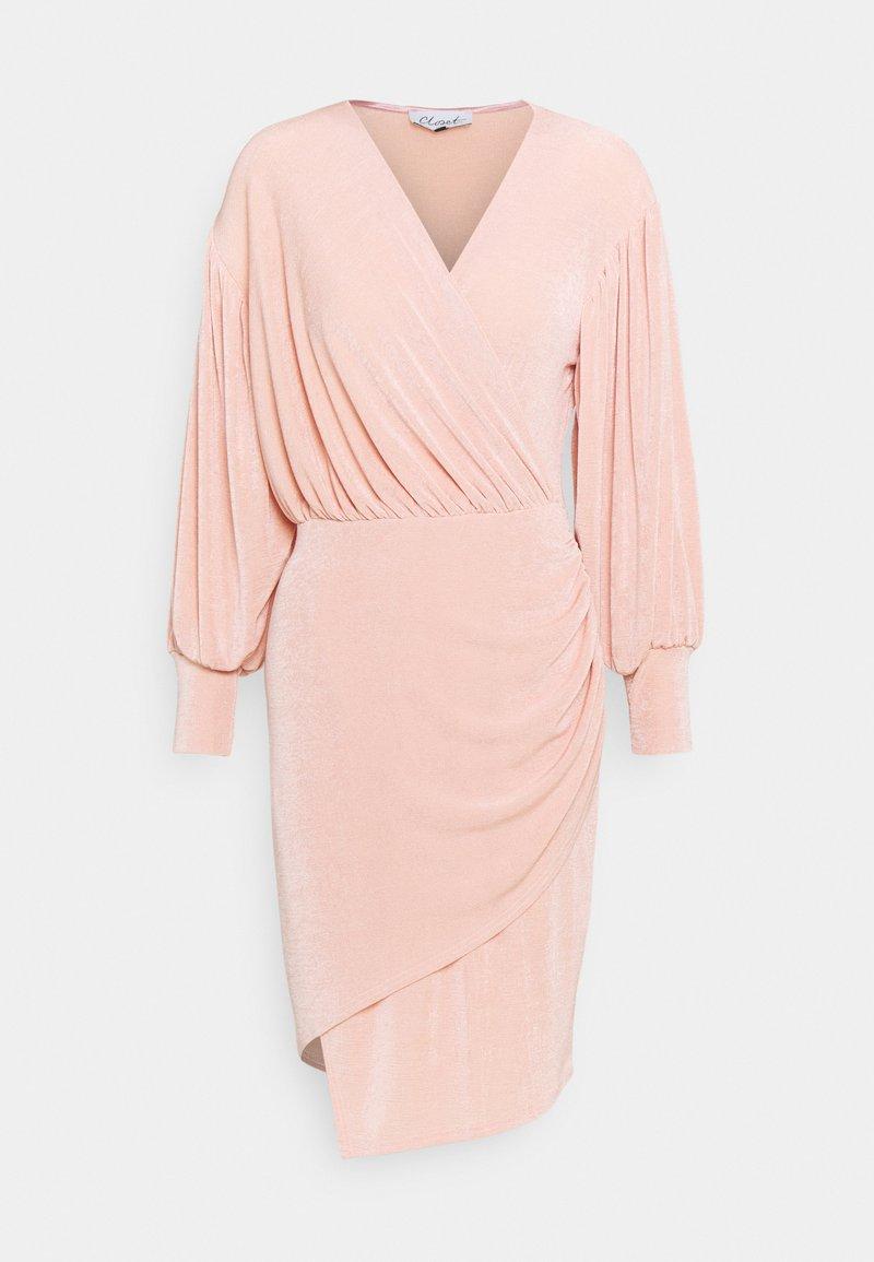 Closet - PUFF SLEEVE WRAP DRESS - Vestido de cóctel - blush