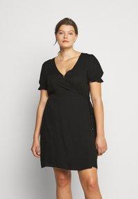 Cotton On Curve - WRAP MIDI DRESS - Day dress - black - 0