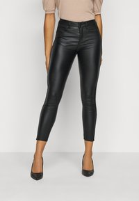 VILA PETITE - VICOMMIT COATED PANT - Pantalon classique - black/silver - 0