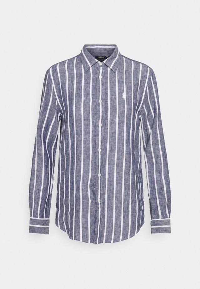 STRIPE LONG SLEEVE - Button-down blouse - navy/white