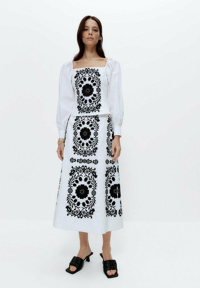 Blouse - white, black
