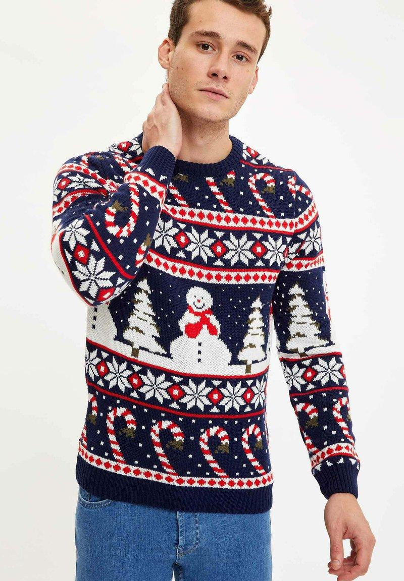 DeFacto - CHRISTMAS - Stickad tröja - navy