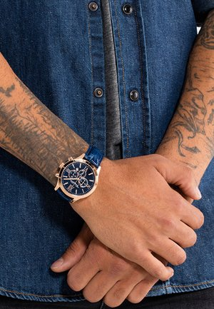 REBEL URBAN - Chronograph watch - roségoldfarben/blau