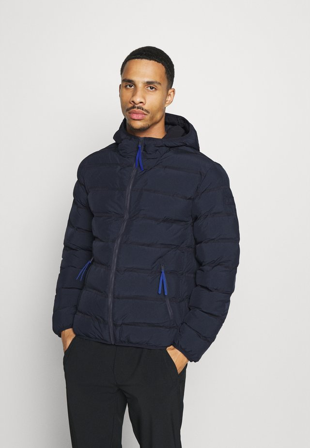 MAN JACKET FIX HOOD - Zimní bunda - black blue