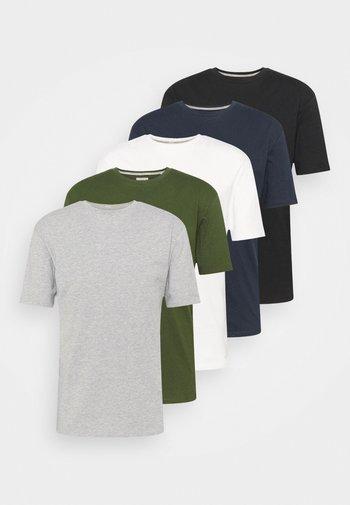 5 PACK - T-shirt - bas - black/white/grey marl/khaki/navy