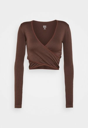 SEAMLESS BALET WRAP - Long sleeved top - choc